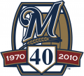 Milwaukee Brewers 2010 Anniversary Logo iron on transfer