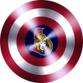 captain american shield with ottawa senators logo iron on transfer