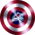 captain american shield with colorado avalanche logo iron on transfer