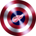 captain american shield with detroit red wings logo iron on transfer