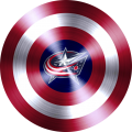 captain american shield with columbus blue jackets logo iron on transfer