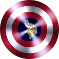 captain american shield with minnesota vikings logo iron on transfer