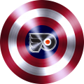 captain american shield with philadelphia flyers logo iron on transfer
